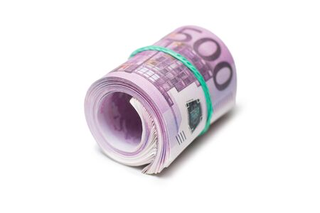 Pack of banknotes in roll. Isolated over white background.