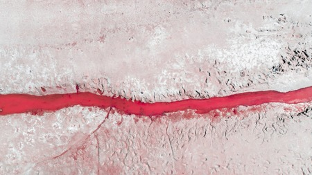 Unusual landscape of coral color. Lake Baskunchak, Russia