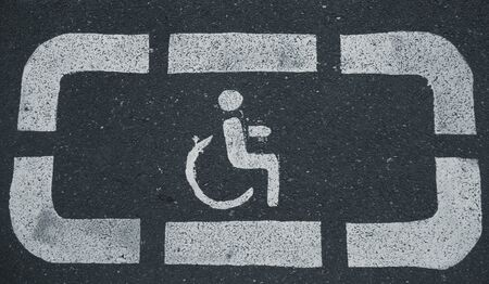 Handicap parking areas reserved for disabled people Horizontal background Stockfoto