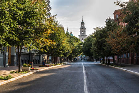 The cityscape of the central street of Astrakhan. High quality photo Imagens
