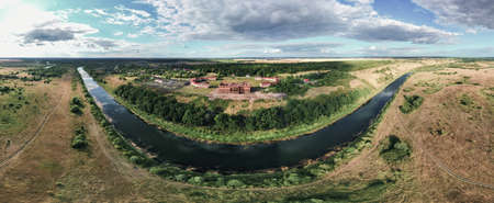 Aerial panorama of the 18th century estate of the landowner Prince Kurakin in the village of Kurakino, Penza region, Russia, 2020
