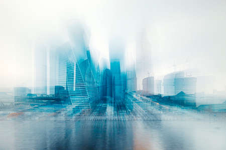 Moscow, Russia. November 3, 20209: Heights in the fog. Buildings of the business center Moscow City in a cityscape. Selected focus Stock Photo