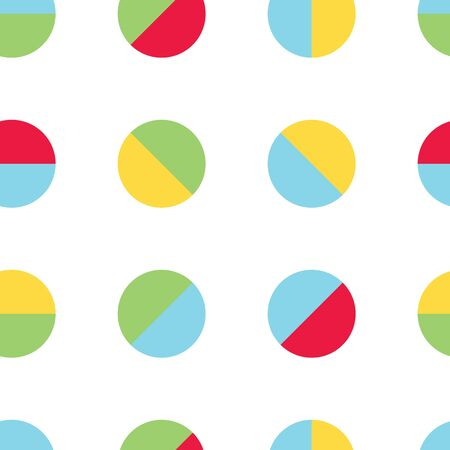 Bright colored balls vector seamless pattern. Primary colors of red, green, blue and yellow. Great for kids and babies.