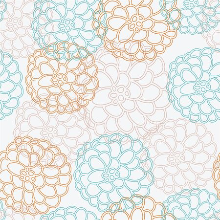 Fall floral bouquet, vector repeat pattern. Fun dahlia or mum surface pattern.