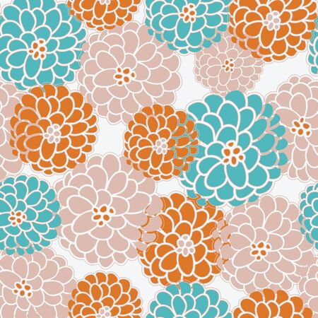 Seasonal floral pattern in modern fall colors, seamless vector pattern. Fall mums or dahlias in rust, blush and teal.
