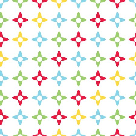 Bright colored x shapes vector seamless pattern. Primary colors of red, green, blue and yellow. Great for kids and babies.