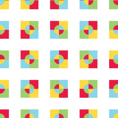 Primary color squares vector seamless pattern. Red, blue, yellow, green surface pattern. Vektorové ilustrace
