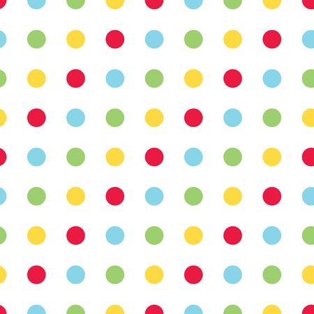 Bright polka dot vector seamless pattern. Primary colors of red, green, blue and yellow. Great for kids and babies. Vektorové ilustrace