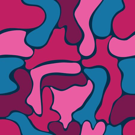 Abstract Color block Bubbles vector seamless pattern. Hot pink, fuchsia and navy design resembling a lava lamp.