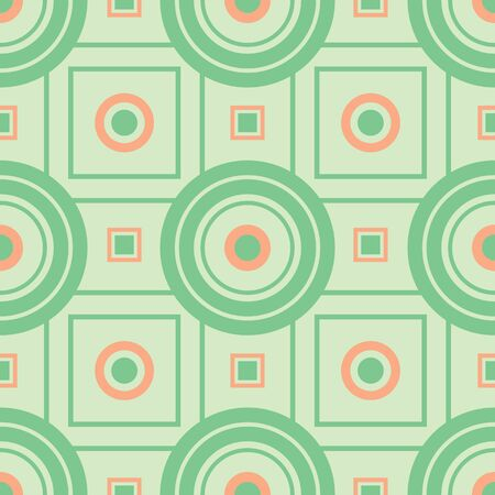 Circle Square Target Vector Seamless Stock. Surface pattern in coral, mint and sage.