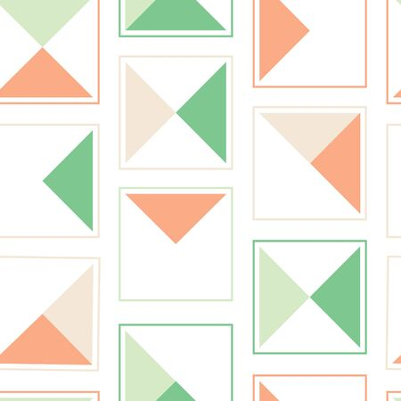Triangle Block Vector Seamless Pattern. Surface pattern in coral, mint and sage.