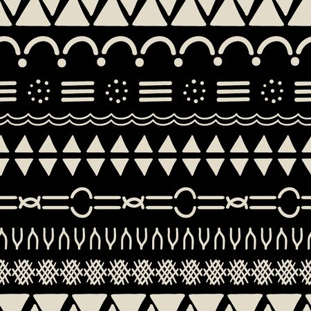 Ethnic Mudcloth vector repeat pattern. Hand drawn elements make up this trendy mudcloth inspired surface pattern.
