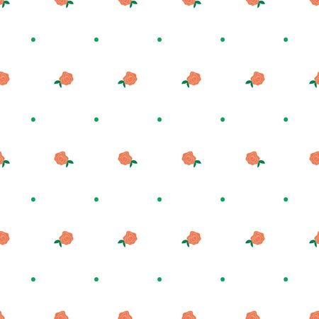 Tiny hand drawn coral rose and dot vector seamless repeat pattern. Perfect for baby items and quilting. 일러스트