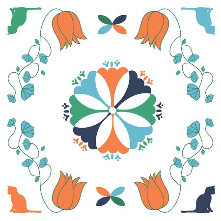Cat Folk Art Quilt Square Vector Seamless repeat pattern. Repeating quilt square art featuring cats and flowers.