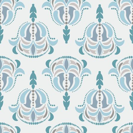 Ornate hand drawn updated damask seamless pattern. A damask element made with a modern twist. Illusztráció