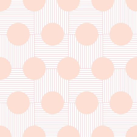 Geometric Dots on Grid background vector repeat pattern. Large blush dots on pink basketweave grid background.