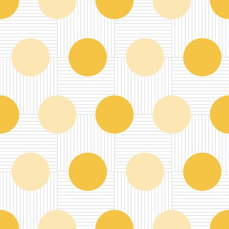 Mustard Yellow Large Polka dot on grid background vector pattern. Modern dot pattern with grid background.