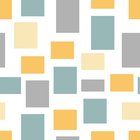 Retro abstract geometric random blocks vector seamless pattern. Shown in popular mustard yellow, teal and gray.