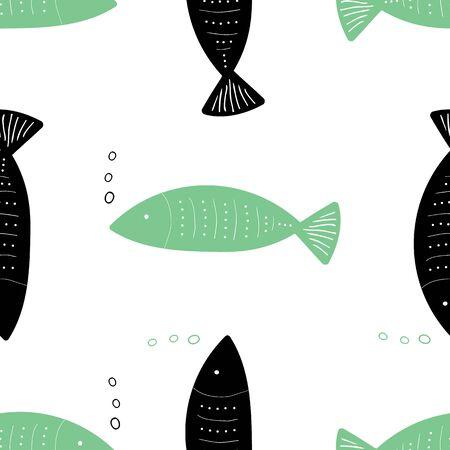 Doodle Fish Vector Seamless Pattern. Hand drawn fish in fun repeat pattern. Illusztráció