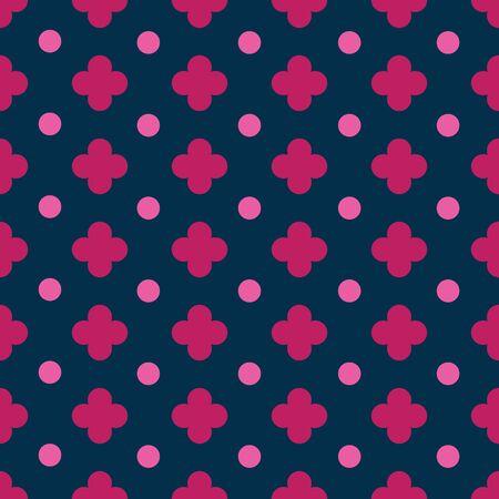 Clover and dot seamless vector pattern. Small clover and dot surface pattern design. Illusztráció