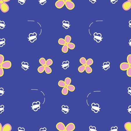 Cute bee and daisy vector seamless pattern. Fun, girly design featuring daisies and bees. Illusztráció