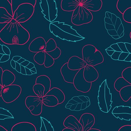 Violets and Leaf scatter seamless vector pattern. Pansy and leaves surface texture. Illusztráció