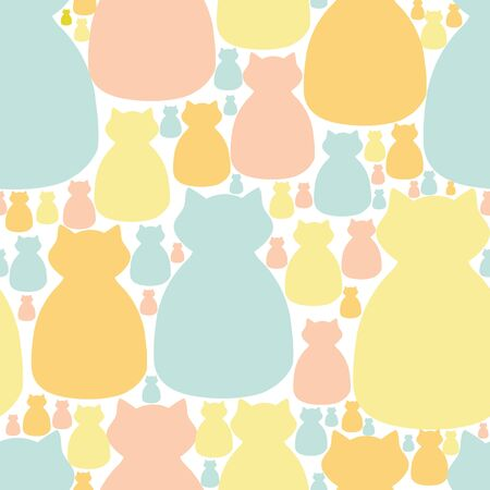 Pastel cat crowd seamless vector pattern. Adorable cat silhouette surface or textile pattern.