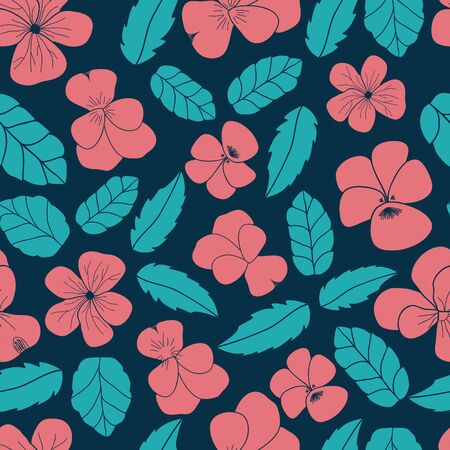 Pansy Floral Leaf Scatter vector seamless pattern. Multi directional hand drawn surface or textile design.
