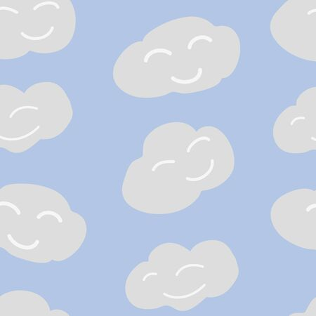 Happy Clouds Blue Sky Vector Repeat Pattern Vector Repeat Pattern. Cute, night time surface pattern.