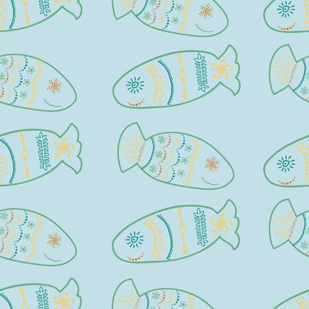Smiling Doodle fish rows seamless vector pattern. Hand drawn and decorated fish surface pattern.