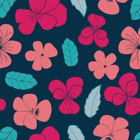Pansies and Leaves vector seamless pattern. Multi directional floral surface or textile design.