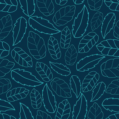 Leaf Outline Texture Vector Seamless Pattern. Hand drawn leaf outline surface or textile pattern. Illusztráció