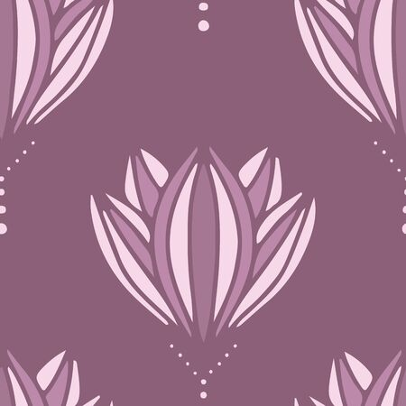 Modern Mauve Flower Blossom abstract vector repeat pattern. Beautiful abstract floral design suitable for wallpaper or fabric.