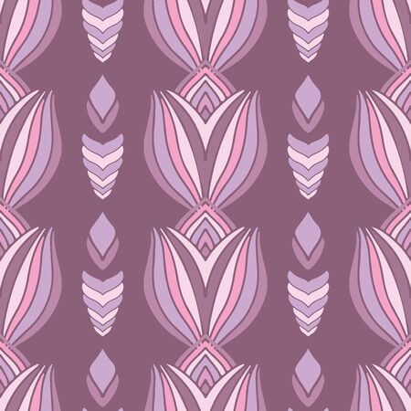 Bold Overlapping Floral Rows abstract vector repeat pattern. Abstract flower design suitable for wallpaper or fabric.