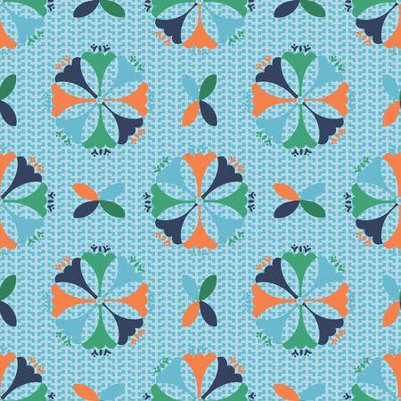 Geometric Folk Art Floral vector seamless repeat pattern. Fun pattern on textured background.