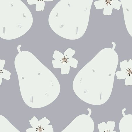 White Pear Blossom Silhouettes Gray Background vector seamless pattern. Pretty fruit and floral pattern suitable for home decor and fashion.