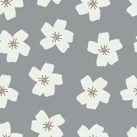 Simple White Flower Blossoms Gray Background vector seamless pattern. Modern gray and white floral repeat design.