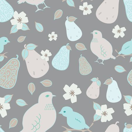 Partridge Birds and pear blossom seamless vector repeat pattern. Mother and baby Partridges with pears and blossoms.