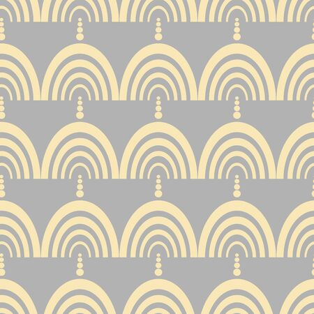 Art Deco Rainbow Arch vector seamless repeat pattern. A modern design suitable for textile, paper or wallpaper.