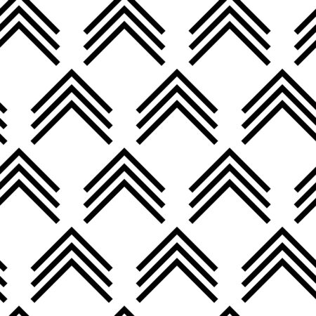 Simple black and white arrow design, vector seamless pattern. Perfect for the trending black and white decorating style.