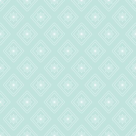 Modern Diamond Floral vector repeat seamless pattern. Hand drawn elements resembling snowflakes would work for holiday prints or fabrics.
