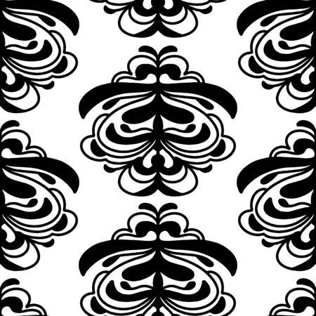 Trendy Vector Damask seamless repeat pattern neutral black and white. Hand drawn damask inspired art element. Illusztráció