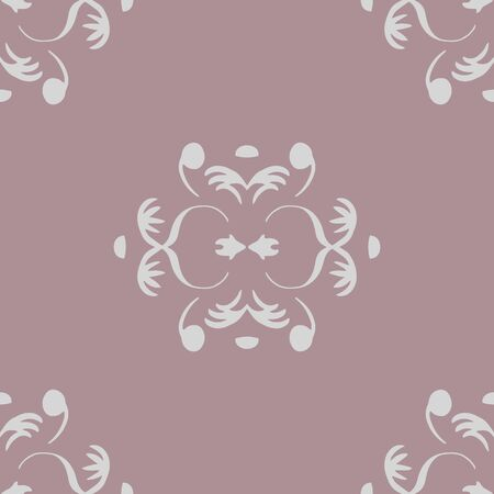 Simple small damask element vector seamless repeat pattern. Hand drawn damask element in brick repeat.