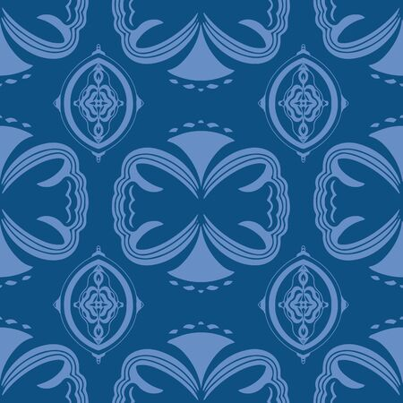 Classic ornament blue modern repeat seamless vector pattern. Hand drawn elements in classic blue with a coordinating light blue.