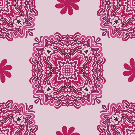 Trendy Fuchsia swirl art vector repeat seamless pattern. Hand drawn vector elements shown in various shades of pink. All colors can be changed to dramatically alter the look.hot pink