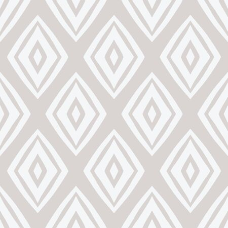 Farmhouse style diamond seamless repeat vector pattern sand white. Hand drawn diamond pattern suitable for textile, wallpaper, and paper.