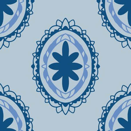 Oval motif seamless vector pattern in classic blue and coordinating colors. Interesting, hand drawn, three layer elements in popular classic blue and complementary colors. Illustration