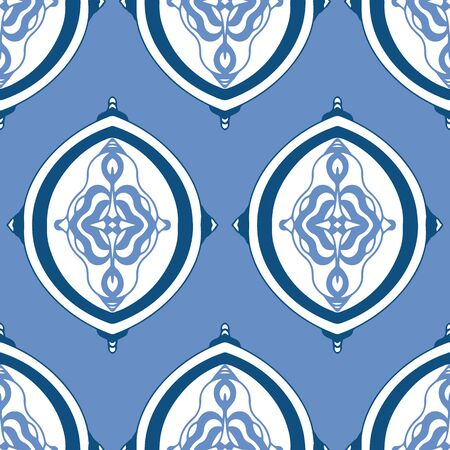 Classic Blue ogee element style seamless vector pattern. Hand drawn elements in classic blue and coordinating colors.