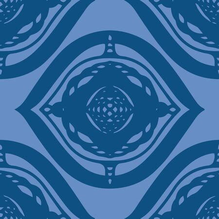 Hand drawn ogee style shape in classic blue seamless repeat pattern. Vector element in simple brick pattern. All colors can be changed.