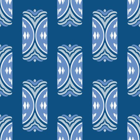 Classic Blue hand drawn element seamless vector pattern. Unique, hand drawn pattern in classic blue with complementary colors.